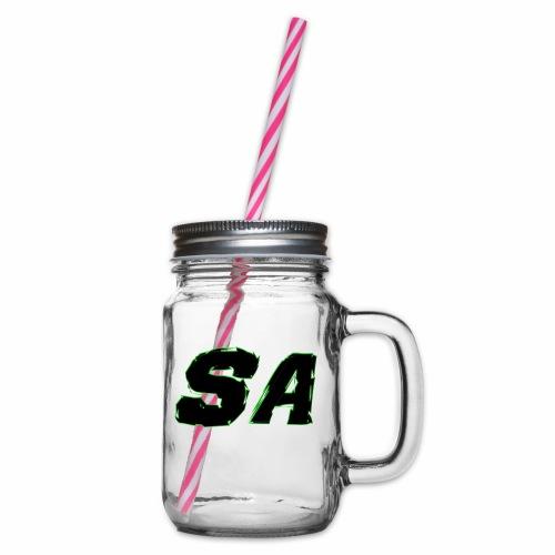 Svart SA Logo - Glas med handtag och skruvlock