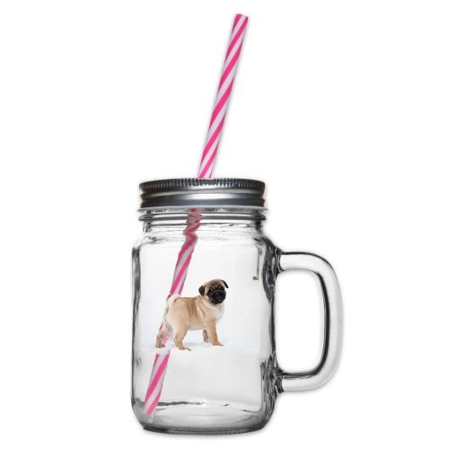 walker family pug merch - Glass jar with handle and screw cap