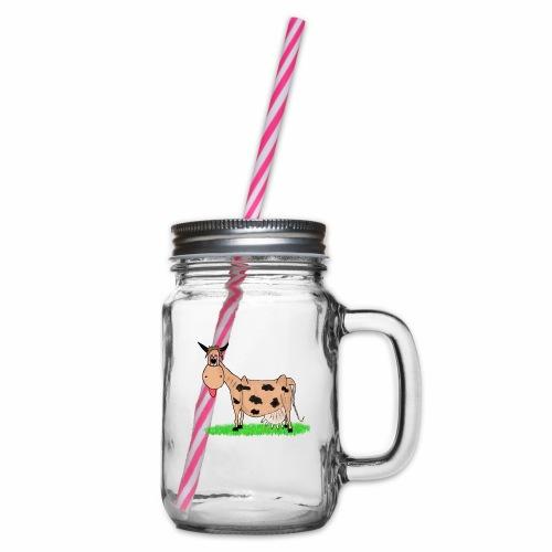 Kuh, Comic, Cartoon - Henkelglas mit Schraubdeckel