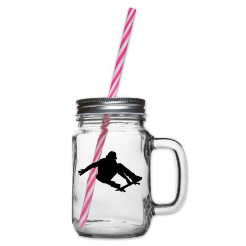 Skater in Action - Henkelglas mit Schraubdeckel