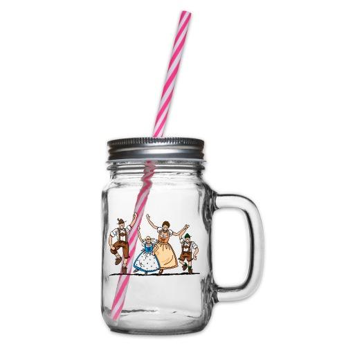 Tanzende Oktoberfest Familie in Tracht - Henkelglas mit Schraubdeckel