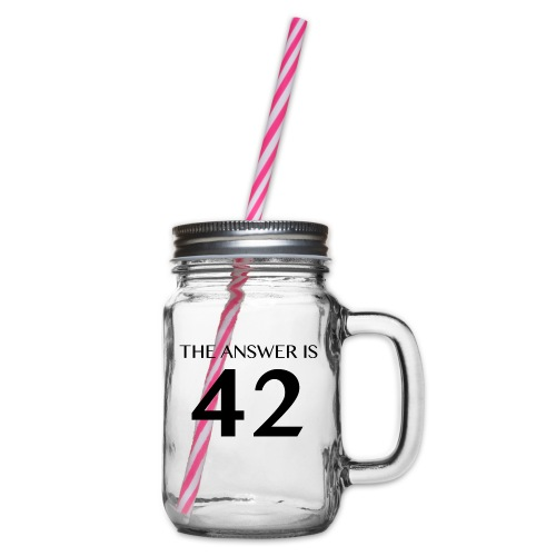 The Answer is 42 Black - Glass jar with handle and screw cap