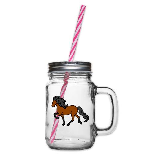 Islandpferd, Brauner, heller - Henkelglas mit Schraubdeckel