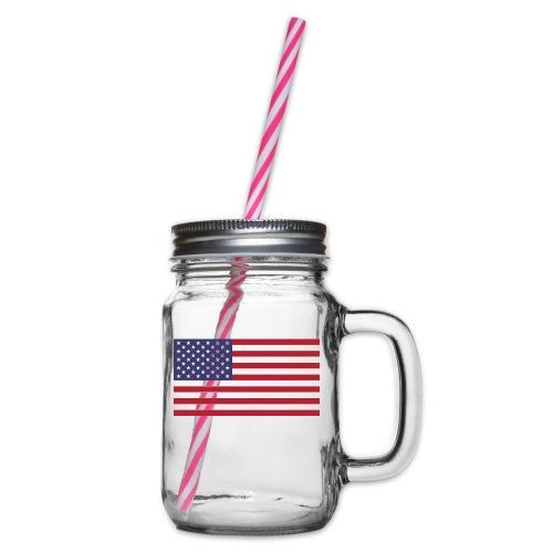 USA flagg - Glass med hank og skrulokk