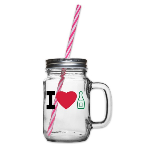 i love champagne - Glass jar with handle and screw cap