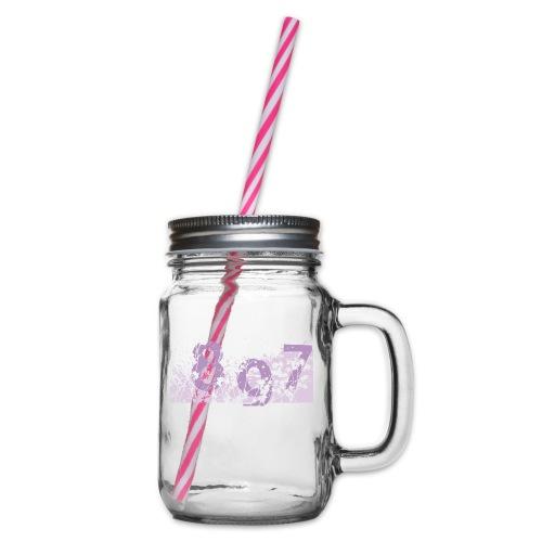 pink digital theme 897 - Słoik do picia z pokrywką