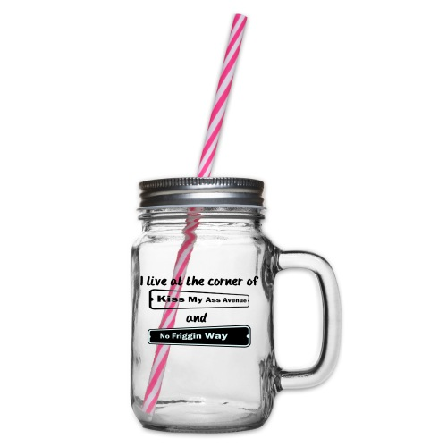 I_LIVE_AT_THE_CORNER_CUT_-2- - Glass jar with handle and screw cap