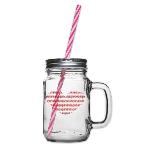 Isle of red Ascii Heart - Glass jar with handle and screw cap