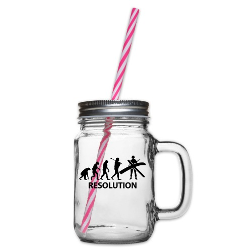 Resolution Evolution Army - Glass jar with handle and screw cap