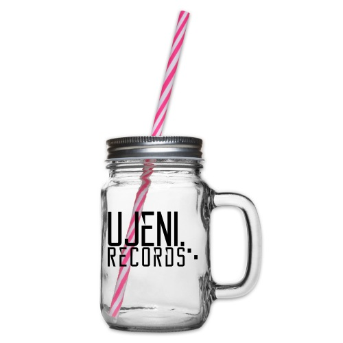 Ujeni Records logo - Glass jar with handle and screw cap