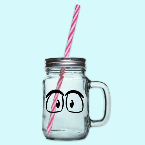 Comic Augen - Henkelglas mit Schraubdeckel