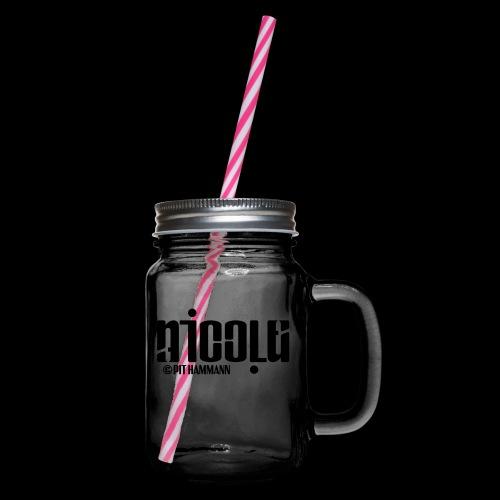Ambigramm Nicole 01 Pit Hammann - Henkelglas mit Schraubdeckel