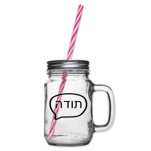 Globo de diálogo, GRACIAS en hebreo - Jarra con asa y tapa roscada