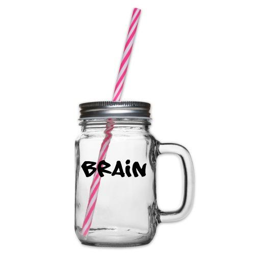 brain schriftzug - Henkelglas mit Schraubdeckel