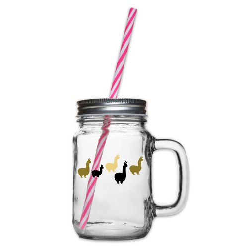 5 Llamas 3farbig - Henkelglas mit Schraubdeckel