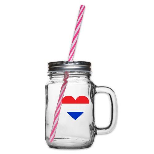 Ik hou van Nederland | Hart met rood wit blauw - Drinkbeker met handvat en schroefdeksel
