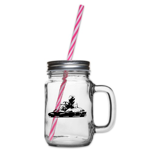 Kart Silhouette T-Shirt - Glass jar with handle and screw cap