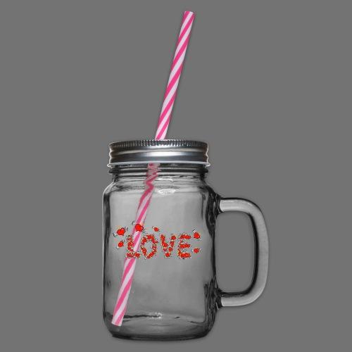 Fliegende Herzen LOVE - Henkelglas mit Schraubdeckel