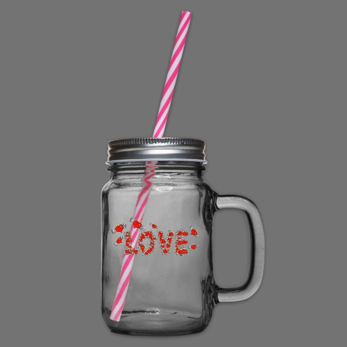 Flying Hearts LOVE - Glass jar with handle and screw cap