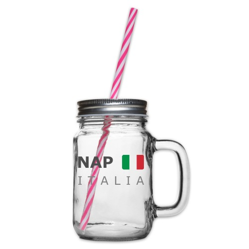NAP ITALIA dark-lettered 400 dpi - Glass jar with handle and screw cap
