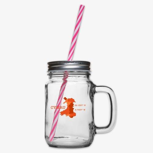 Cymru - Latitude / Longitude - Glass jar with handle and screw cap