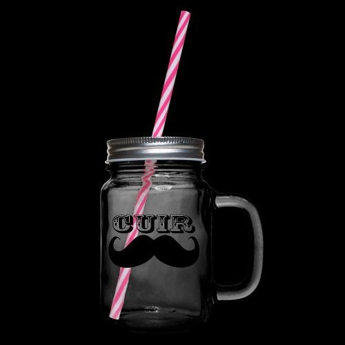 Cuir Moustache - Logo Noir - Glass jar with handle and screw cap