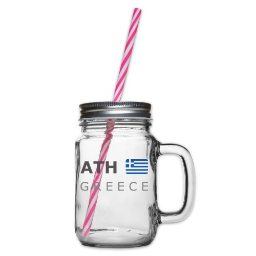 ATH GREECE dark-lettered 400 dpi - Glass jar with handle and screw cap