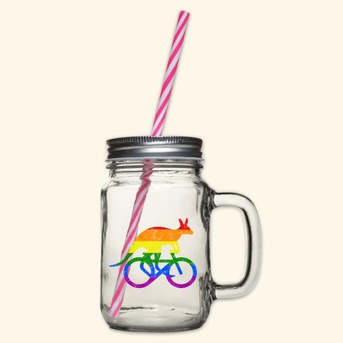 Radfahrer Känguru lustiges Fahrrad Regenbogenfahne - Henkelglas mit Schraubdeckel
