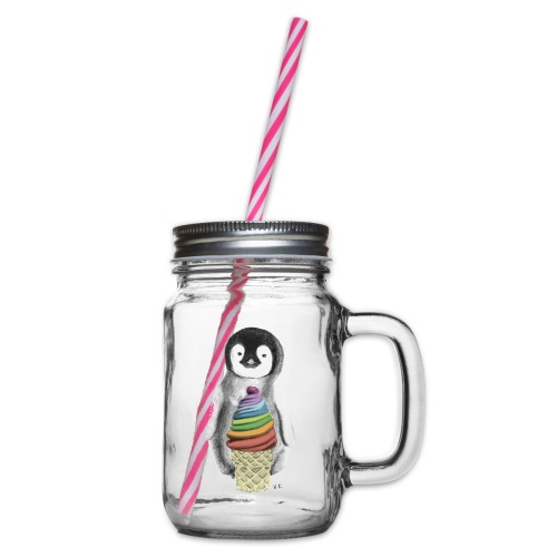 Baby Penguin With Ice Cre - Glass jar with handle and screw cap
