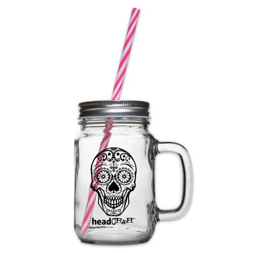 Skull & Logo black - Henkelglas mit Schraubdeckel