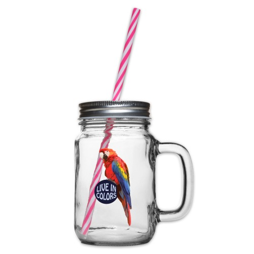 Parrot - Live in colors - Glass jar with handle and screw cap
