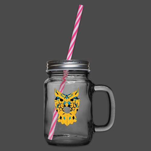 Owl Colour Redraw - Glass jar with handle and screw cap