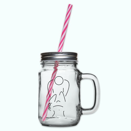 lover - Glass jar with handle and screw cap