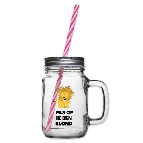 Pas op ik ben blond een cartoon van blonde leeuw - Drinkbeker met handvat en schroefdeksel