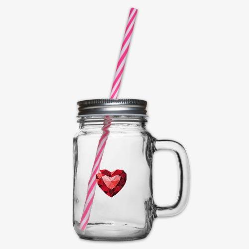 Rubinowe serce - Słoik do picia z pokrywką