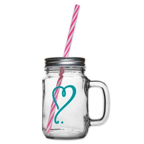 Glas mit Herz - Henkelglas mit Schraubdeckel