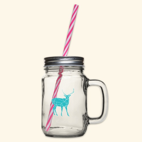 Blue Reindeer - Glass jar with handle and screw cap