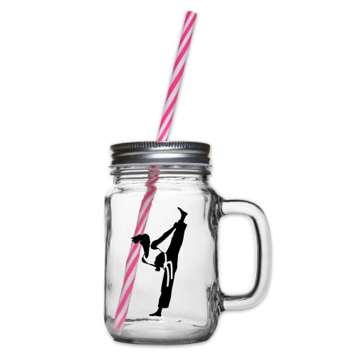 Female martial artist - Glass jar with handle and screw cap
