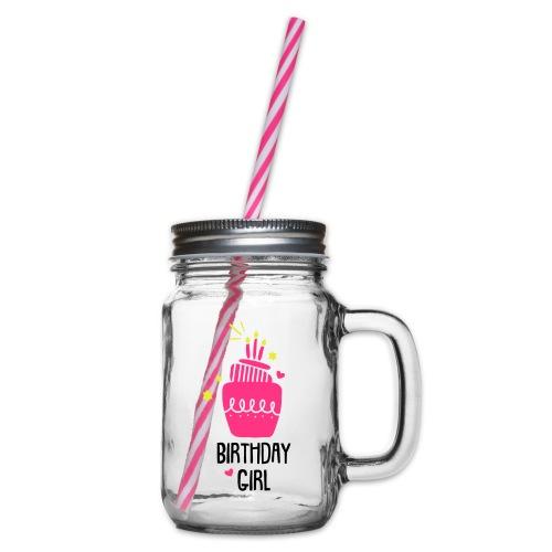 Geburtstagsshirt Mädchen - Henkelglas mit Schraubdeckel