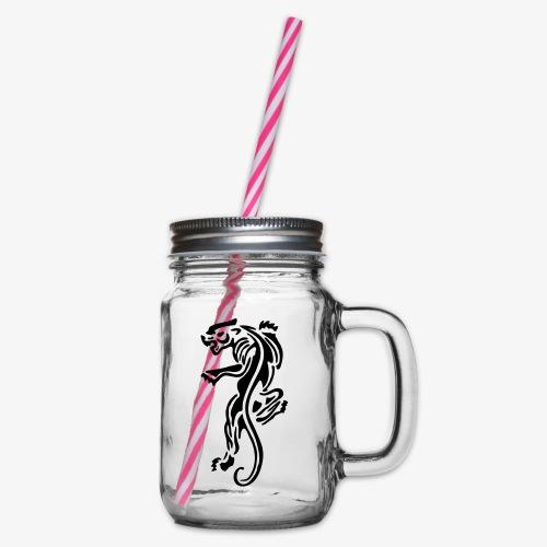 panther wild animals patjila - Glass jar with handle and screw cap