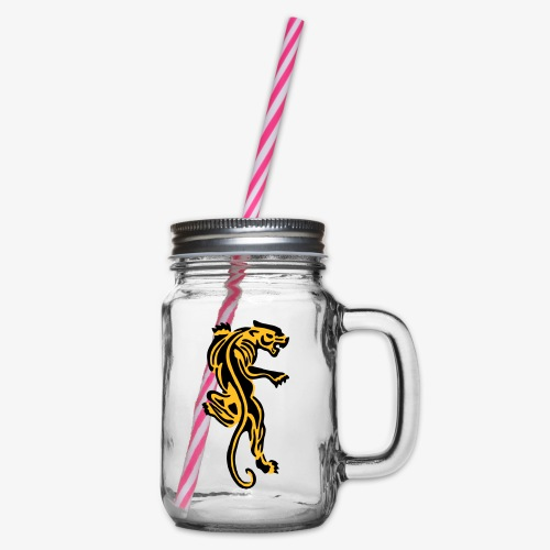 Tiger great cat design by patjila - Glass jar with handle and screw cap