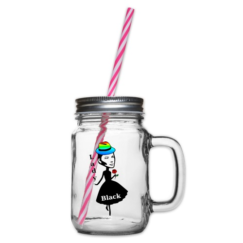 Lady Black/Regenbogen - Henkelglas mit Schraubdeckel