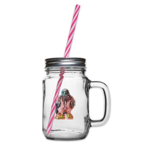 Pink bird growing 2 - Henkelglas mit Schraubdeckel