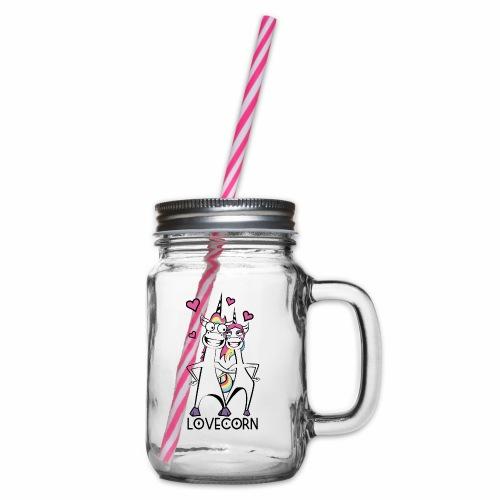Lovecorn - Henkelglas mit Schraubdeckel