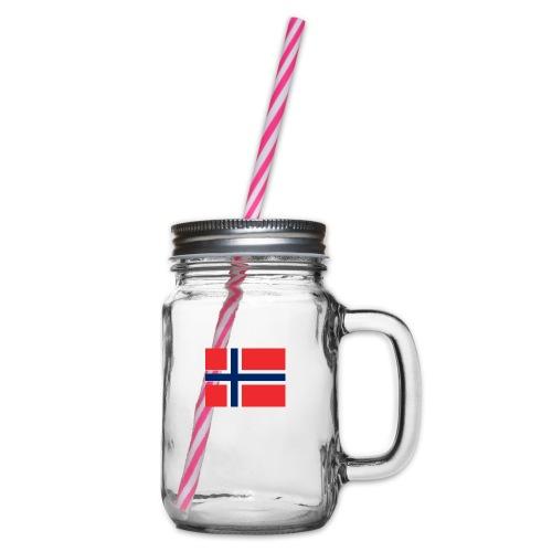 Norwegen Flagge - Henkelglas mit Schraubdeckel