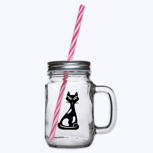 Kats1 black - Henkelglas mit Schraubdeckel