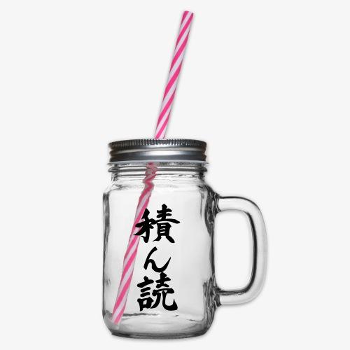 Tsundoku Kalligrafie - Henkelglas mit Schraubdeckel