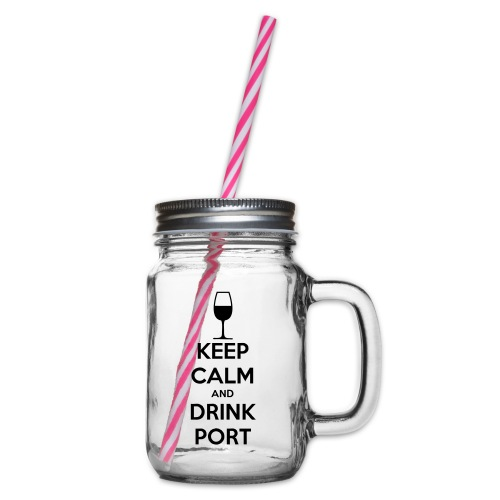 Keep Calm and Drink Port - Glass jar with handle and screw cap