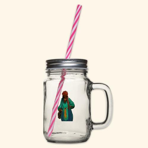 Femme avec sac motif - Bocal à boisson