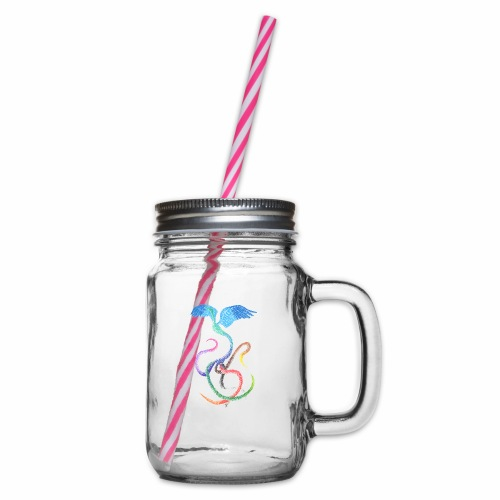 Graceful - Rainbow Bird in Ink - Glass jar with handle and screw cap